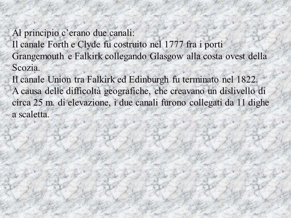 Al principio c'erano due canali: Il canale Forth e Clyde fu costruito nel 1777 fra i porti Grangemouth e Falkirk collegando Glasgow alla costa ovest della Scozia.