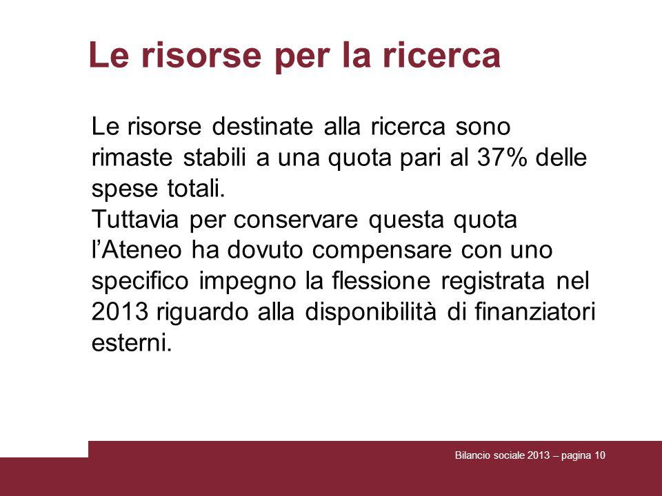 Bilancio sociale 2013 – pagina 10 Le risorse per la ricerca Le risorse destinate alla ricerca sono rimaste stabili a una quota pari al 37% delle spese totali.