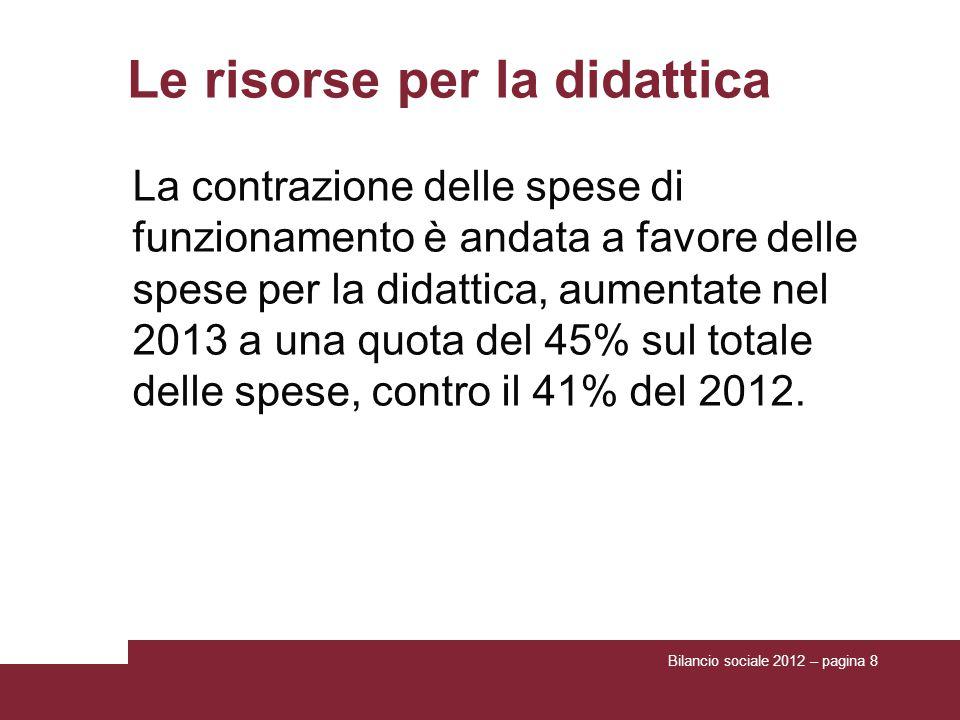 Bilancio sociale 2012 – pagina 8 Le risorse per la didattica La contrazione delle spese di funzionamento è andata a favore delle spese per la didattica, aumentate nel 2013 a una quota del 45% sul totale delle spese, contro il 41% del 2012.