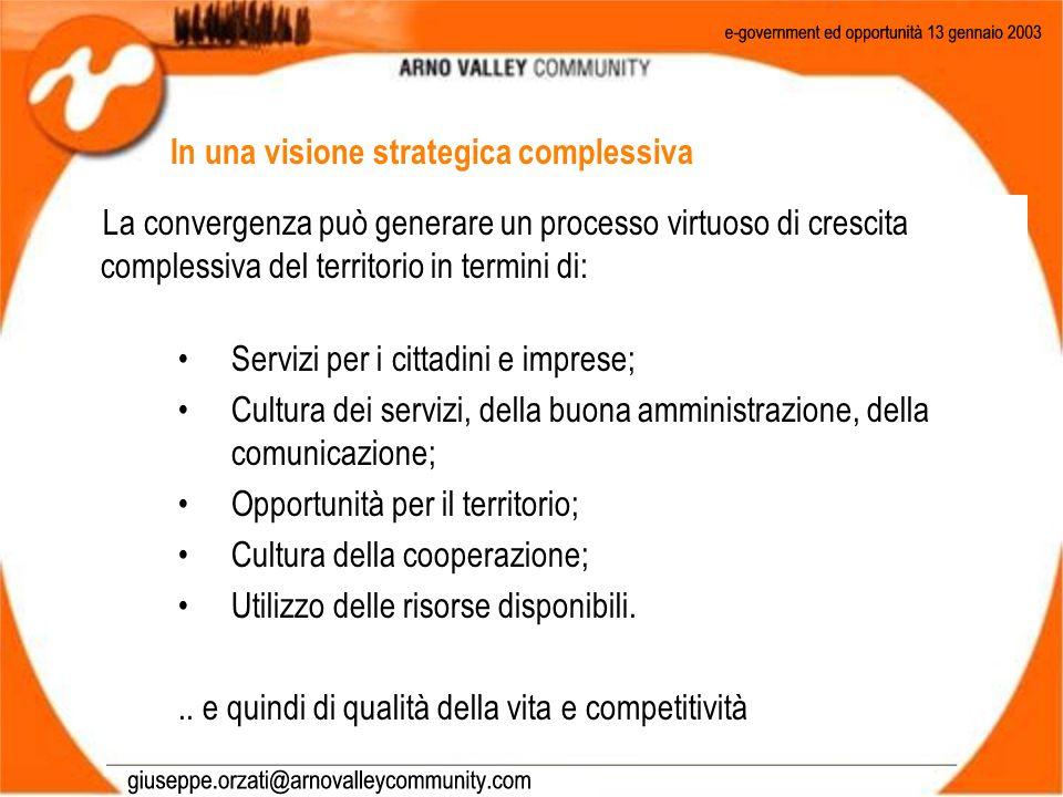 La convergenza può generare un processo virtuoso di crescita complessiva del territorio in termini di: Servizi per i cittadini e imprese; Cultura dei servizi, della buona amministrazione, della comunicazione; Opportunità per il territorio; Cultura della cooperazione; Utilizzo delle risorse disponibili...