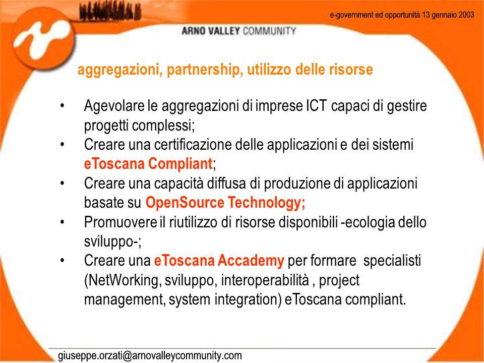 Agevolare le aggregazioni di imprese ICT capaci di gestire progetti complessi; Creare una certificazione delle applicazioni e dei sistemi eToscana Compliant ; Creare una capacità diffusa di produzione di applicazioni basate su OpenSource Technology; Promuovere il riutilizzo di risorse disponibili -ecologia dello sviluppo-; Creare una eToscana Accademy per formare specialisti (NetWorking, sviluppo, interoperabilità, project management, system integration) eToscana compliant.