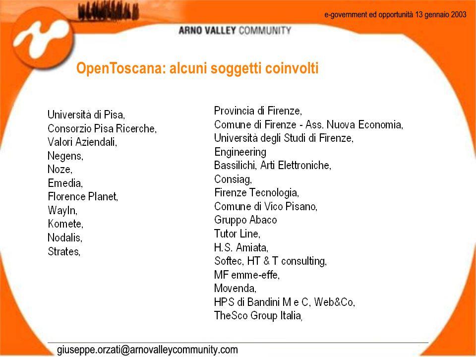 OpenToscana: alcuni soggetti coinvolti