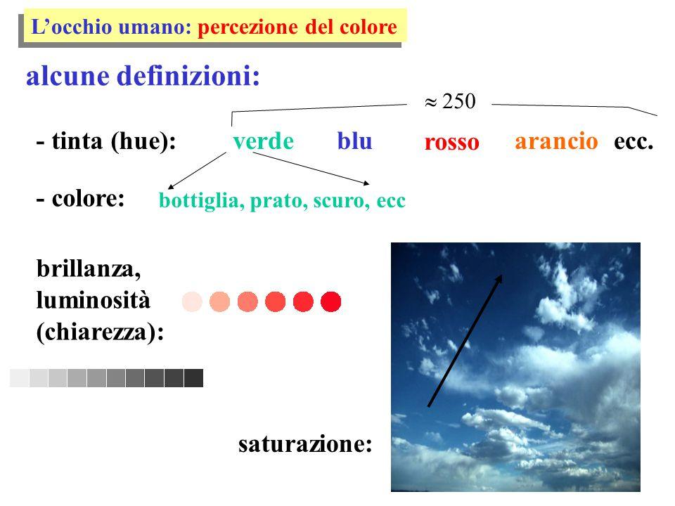 alcune definizioni: - tinta (hue): L'occhio umano: percezione del colore rosso bluverdearancio - colore: bottiglia, prato, scuro, ecc ecc.  250 satu