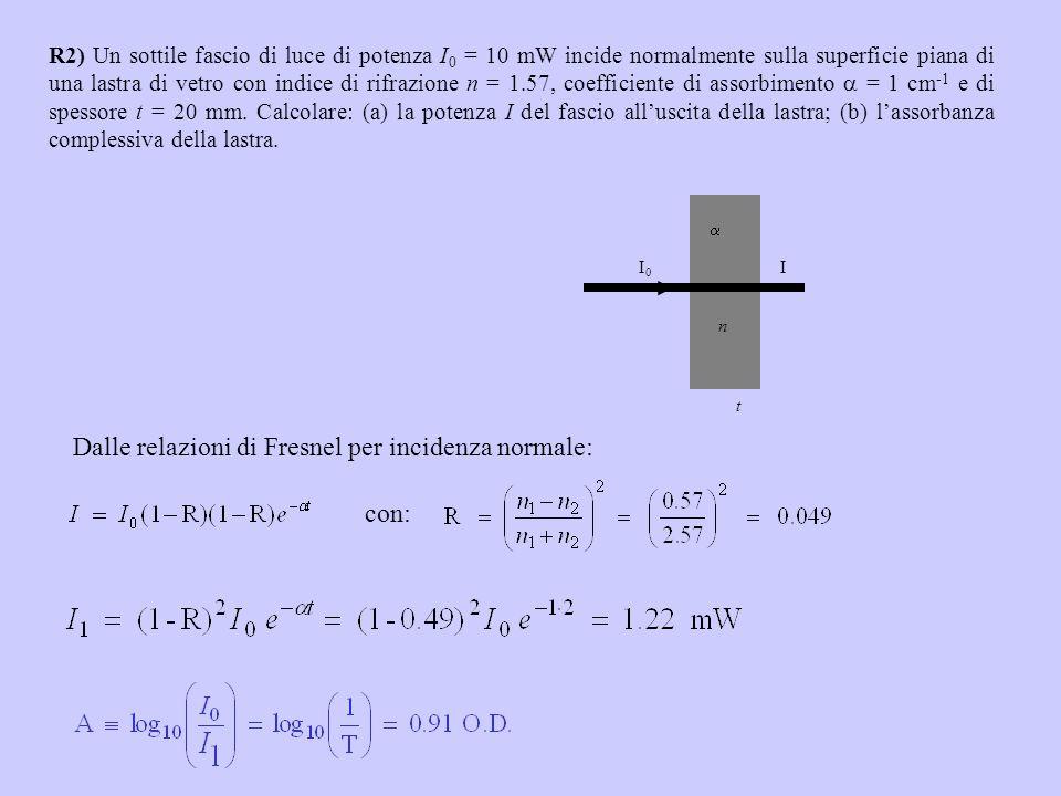 R2) Un sottile fascio di luce di potenza I 0 = 10 mW incide normalmente sulla superficie piana di una lastra di vetro con indice di rifrazione n = 1.5