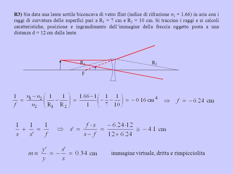R3) Sia data una lente sottile biconcava di vetro flint (indice di rifrazione n 1 = 1.66) in aria con i raggi di curvatura delle superfici pari a R 1