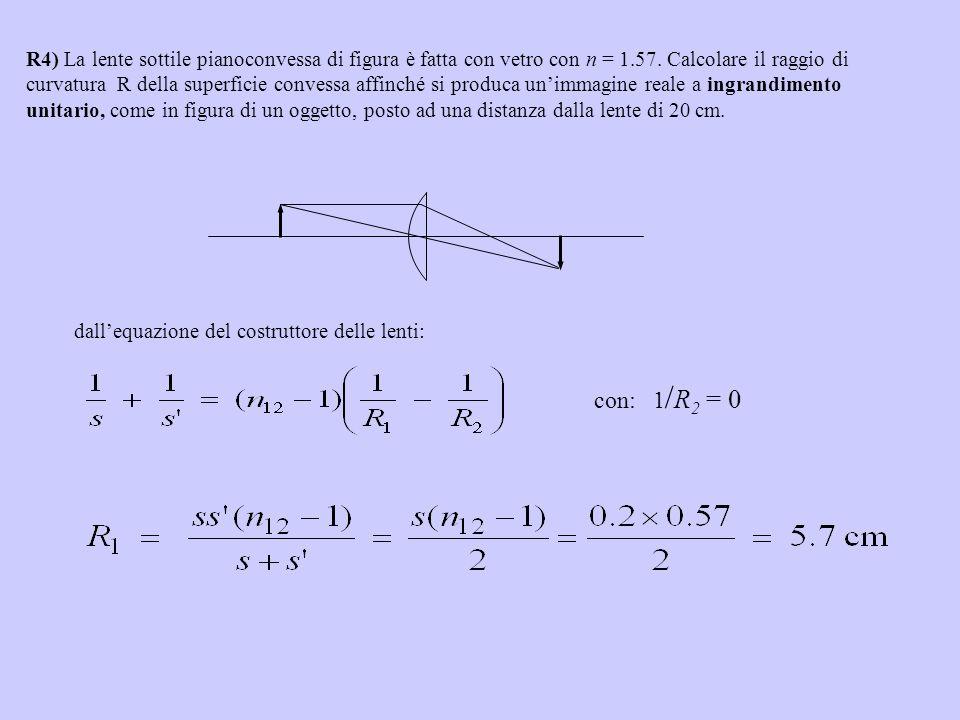 R4) La lente sottile pianoconvessa di figura è fatta con vetro con n = 1.57. Calcolare il raggio di curvatura R della superficie convessa affinché si