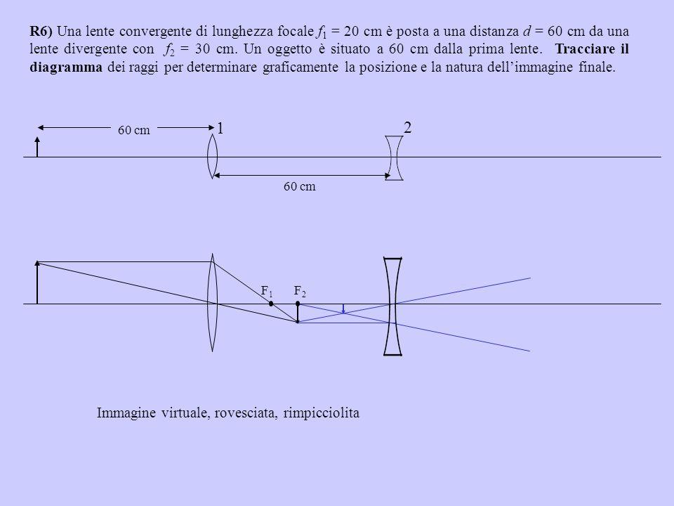 R6) Una lente convergente di lunghezza focale f 1 = 20 cm è posta a una distanza d = 60 cm da una lente divergente con f 2 = 30 cm. Un oggetto è situa