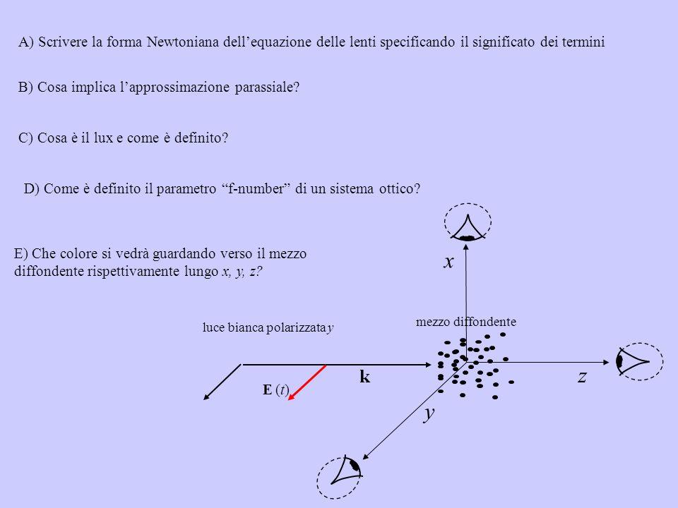 E) Che colore si vedrà guardando verso il mezzo diffondente rispettivamente lungo x, y, z? luce bianca polarizzata y E (t)E (t) y k x z mezzo diffonde