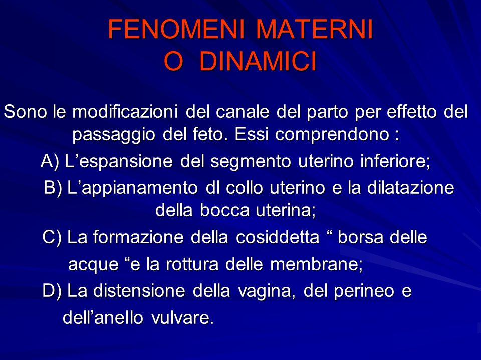 FENOMENI MATERNI O DINAMICI Sono le modificazioni del canale del parto per effetto del passaggio del feto.