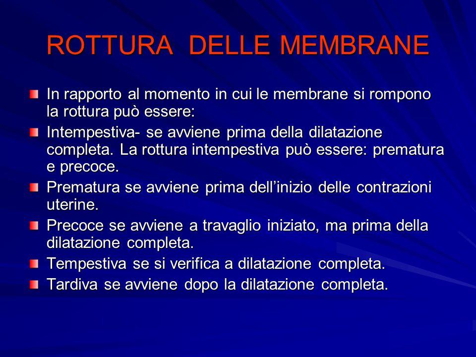 ROTTURA DELLE MEMBRANE In rapporto al momento in cui le membrane si rompono la rottura può essere: Intempestiva- se avviene prima della dilatazione completa.
