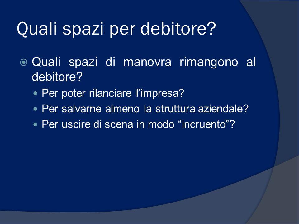 Quali spazi per debitore?  Quali spazi di manovra rimangono al debitore? Per poter rilanciare l'impresa? Per salvarne almeno la struttura aziendale?