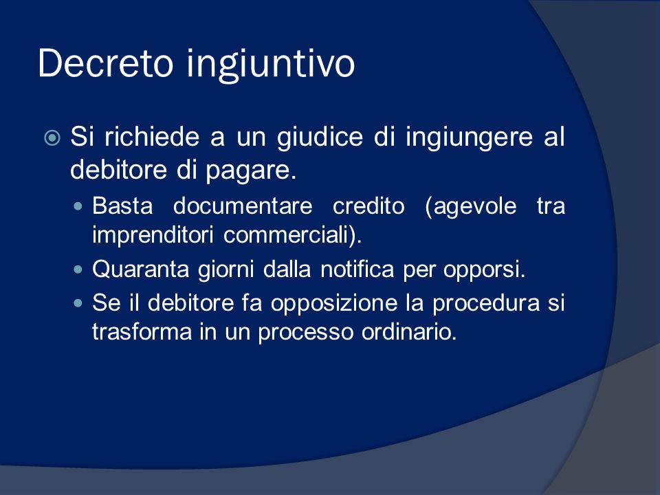 Decreto ingiuntivo  Si richiede a un giudice di ingiungere al debitore di pagare. Basta documentare credito (agevole tra imprenditori commerciali). Q