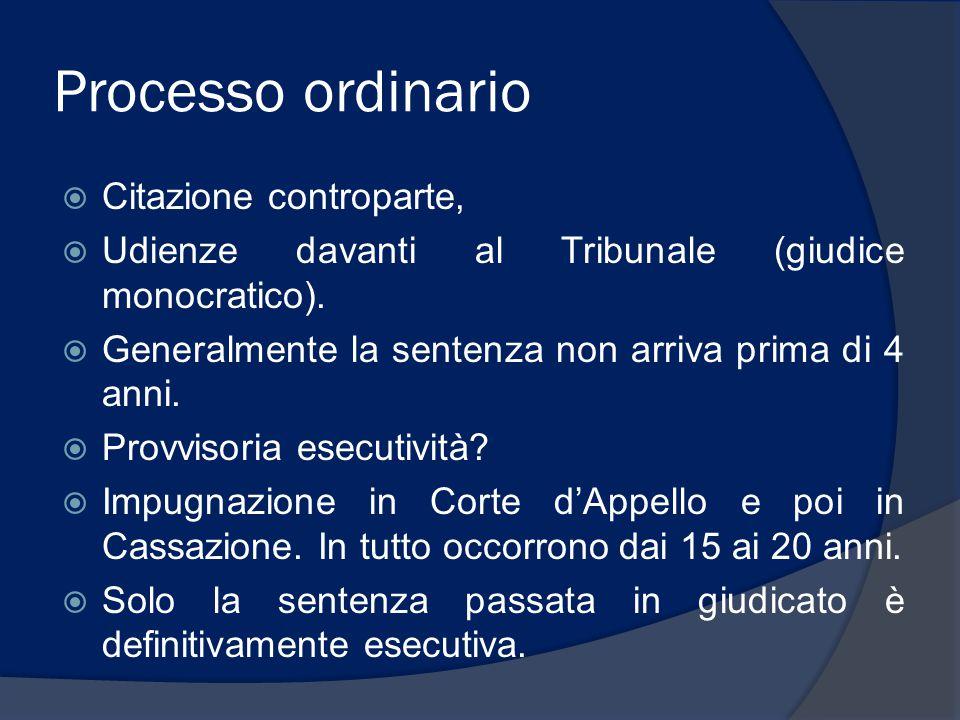 Processo ordinario  Citazione controparte,  Udienze davanti al Tribunale (giudice monocratico).  Generalmente la sentenza non arriva prima di 4 ann
