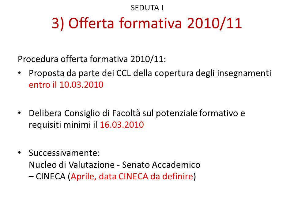 SEDUTA I 3) Offerta formativa 2010/11 Procedura offerta formativa 2010/11: Proposta da parte dei CCL della copertura degli insegnamenti entro il 10.03