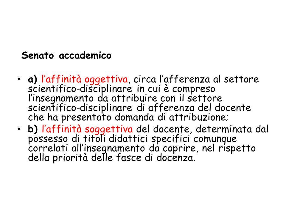 Senato accademico a) l'affinità oggettiva, circa l'afferenza al settore scientifico-disciplinare in cui è compreso l'insegnamento da attribuire con il