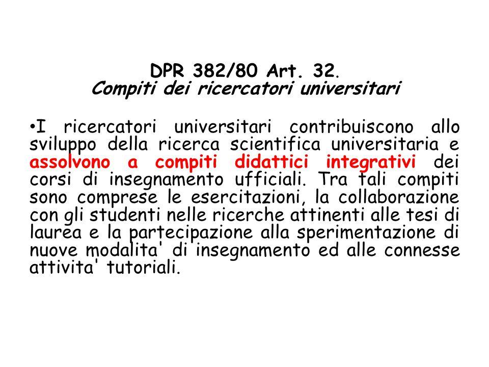 DPR 382/80 Art. 32. Compiti dei ricercatori universitari I ricercatori universitari contribuiscono allo sviluppo della ricerca scientifica universitar