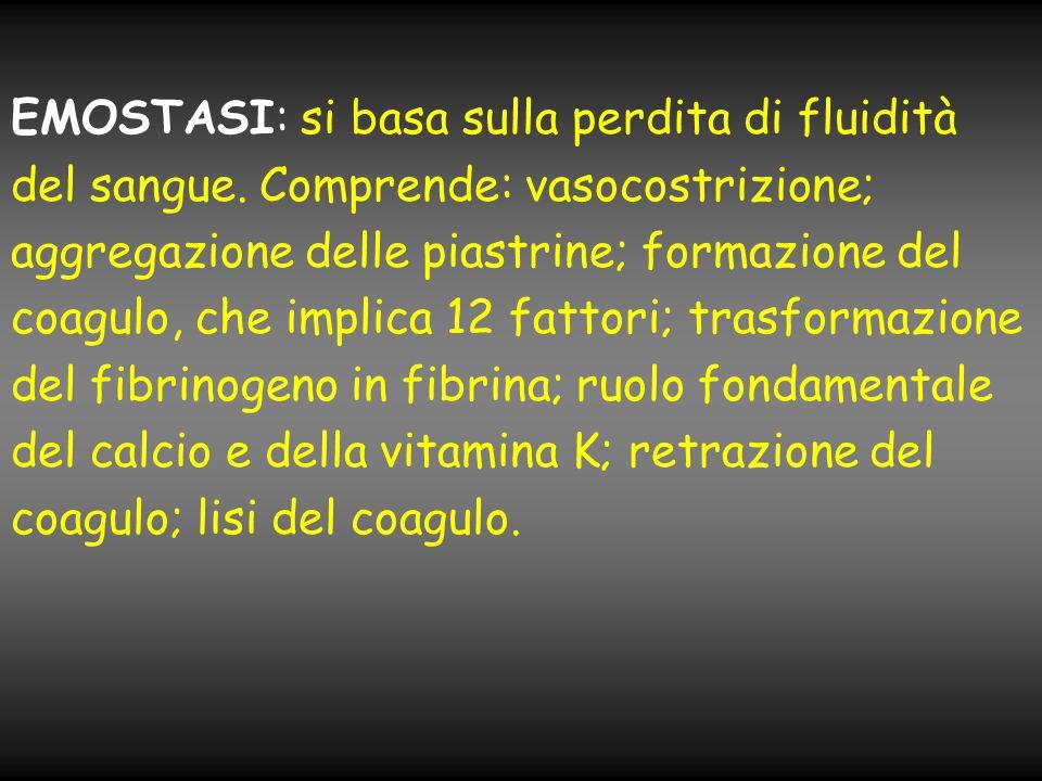 EMOSTASI: si basa sulla perdita di fluidità del sangue. Comprende: vasocostrizione; aggregazione delle piastrine; formazione del coagulo, che implica
