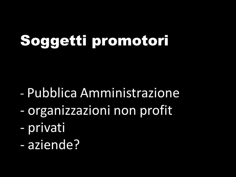 Soggetti promotori - Pubblica Amministrazione - organizzazioni non profit - privati - aziende?