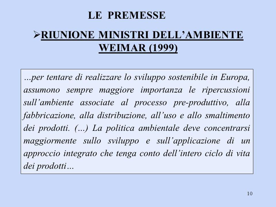 10 …per tentare di realizzare lo sviluppo sostenibile in Europa, assumono sempre maggiore importanza le ripercussioni sull'ambiente associate al proce