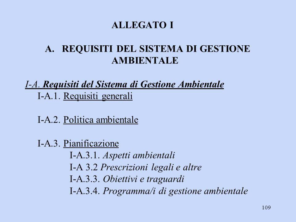 109 ALLEGATO I A. REQUISITI DEL SISTEMA DI GESTIONE AMBIENTALE I-A. Requisiti del Sistema di Gestione Ambientale I-A.1. Requisiti generali I-A.2. Poli