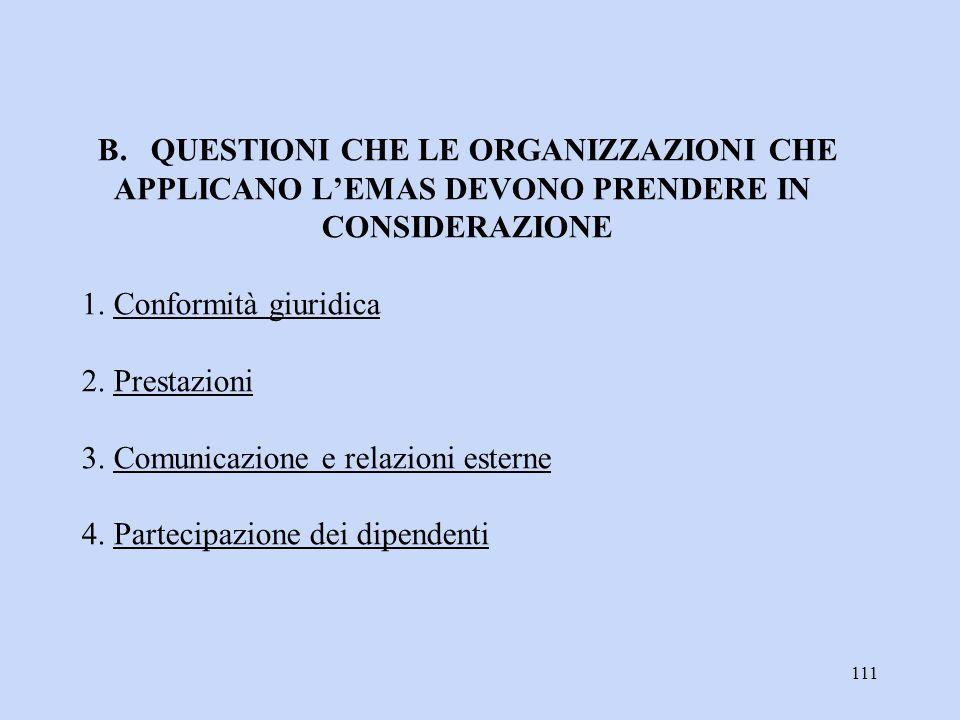 111 B. QUESTIONI CHE LE ORGANIZZAZIONI CHE APPLICANO L'EMAS DEVONO PRENDERE IN CONSIDERAZIONE 1. Conformità giuridica 2. Prestazioni 3. Comunicazione