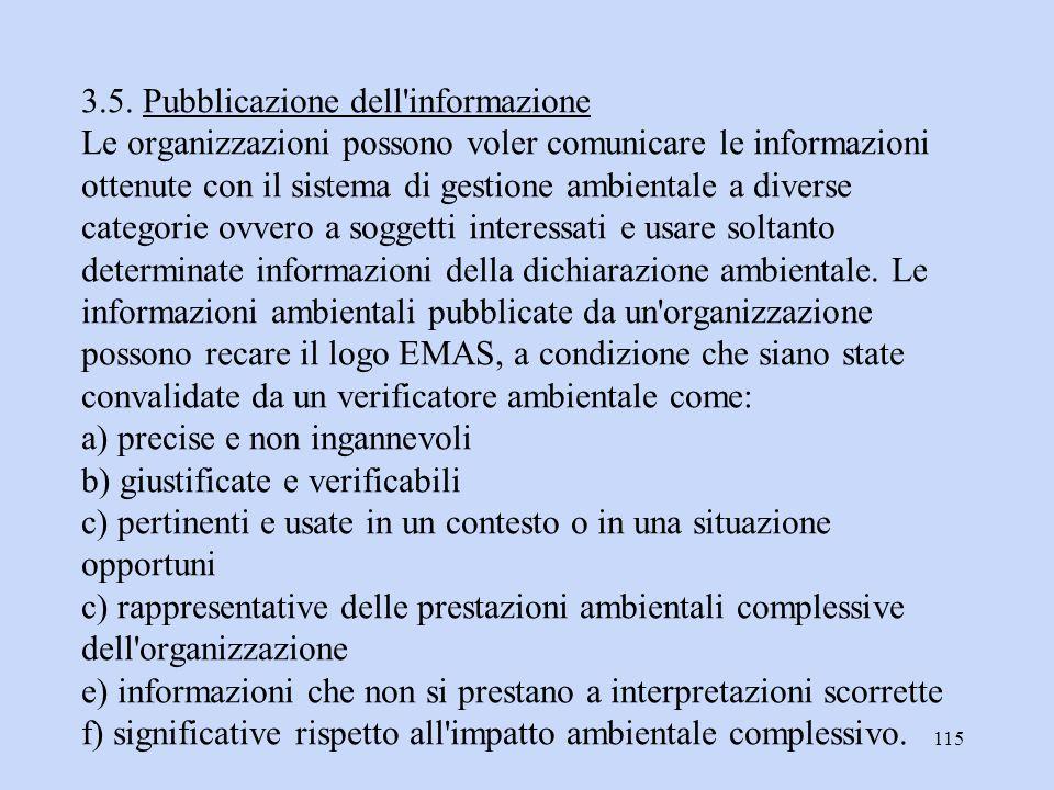 115 3.5. Pubblicazione dell'informazione Le organizzazioni possono voler comunicare le informazioni ottenute con il sistema di gestione ambientale a d