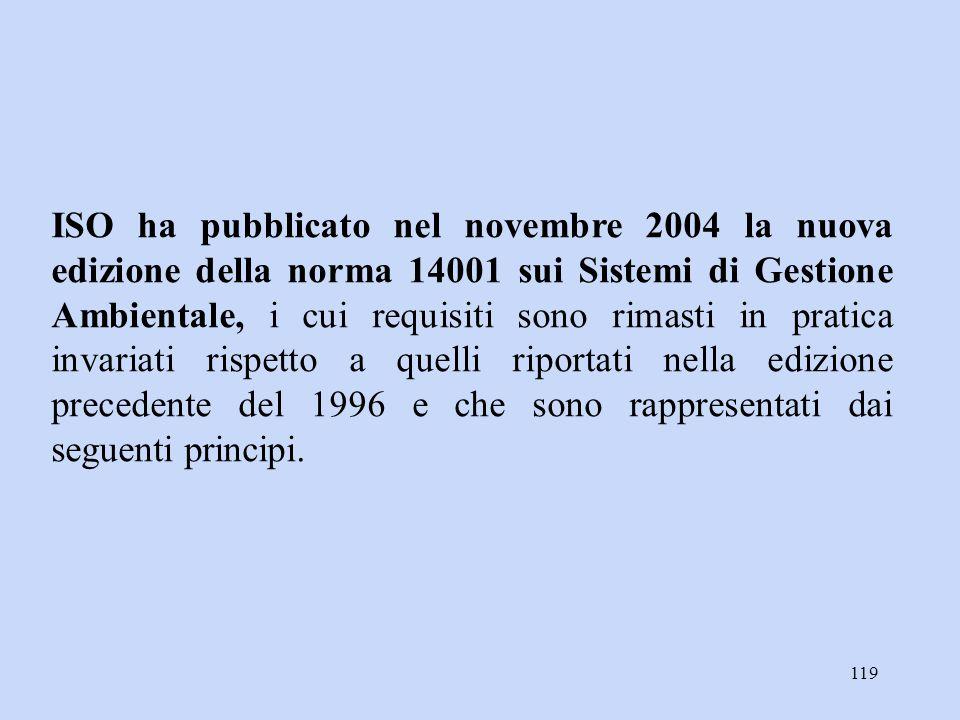 119 ISO ha pubblicato nel novembre 2004 la nuova edizione della norma 14001 sui Sistemi di Gestione Ambientale, i cui requisiti sono rimasti in pratic