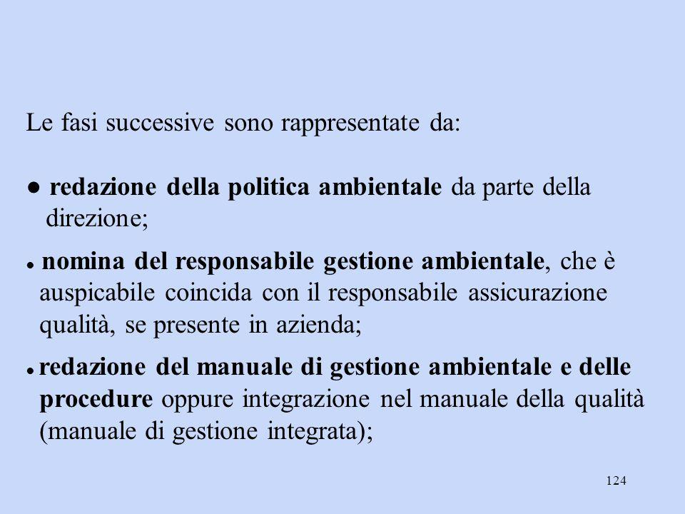 124 Le fasi successive sono rappresentate da: ● redazione della politica ambientale da parte della direzione; ● nomina del responsabile gestione ambie