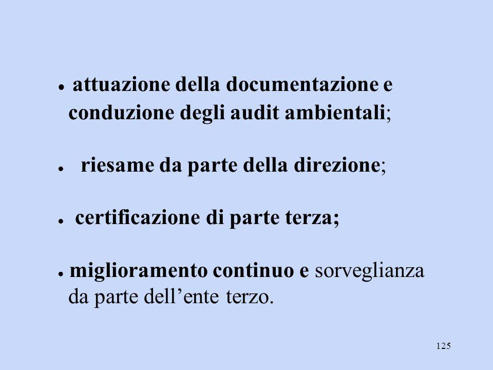 125 ● attuazione della documentazione e conduzione degli audit ambientali; ● riesame da parte della direzione; ● certificazione di parte terza; ● migl