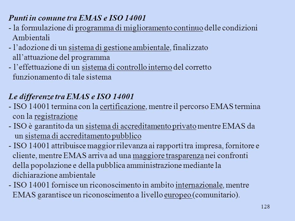 128 Punti in comune tra EMAS e ISO 14001 - la formulazione di programma di miglioramento continuo delle condizioni Ambientali - l'adozione di un siste
