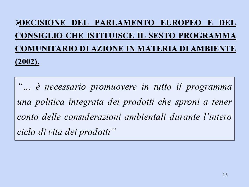 """13 """"… è necessario promuovere in tutto il programma una politica integrata dei prodotti che sproni a tener conto delle considerazioni ambientali duran"""