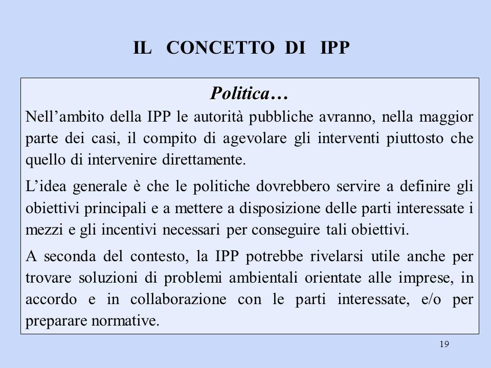 19 Politica… Politica… Nell'ambito della IPP le autorità pubbliche avranno, nella maggior parte dei casi, il compito di agevolare gli interventi piutt