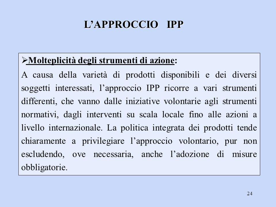 24  Molteplicità degli strumenti di azione: A causa della varietà di prodotti disponibili e dei diversi soggetti interessati, l'approccio IPP ricorre