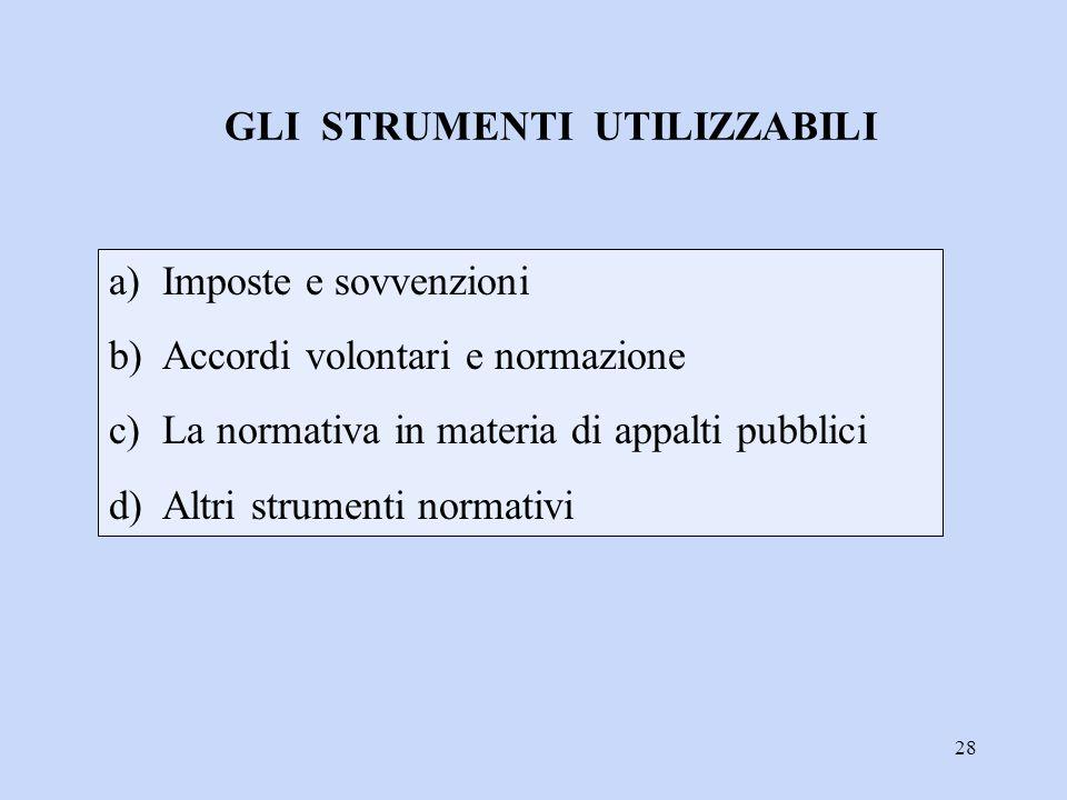 28 a)Imposte e sovvenzioni b)Accordi volontari e normazione c)La normativa in materia di appalti pubblici d)Altri strumenti normativi GLI STRUMENTI UT