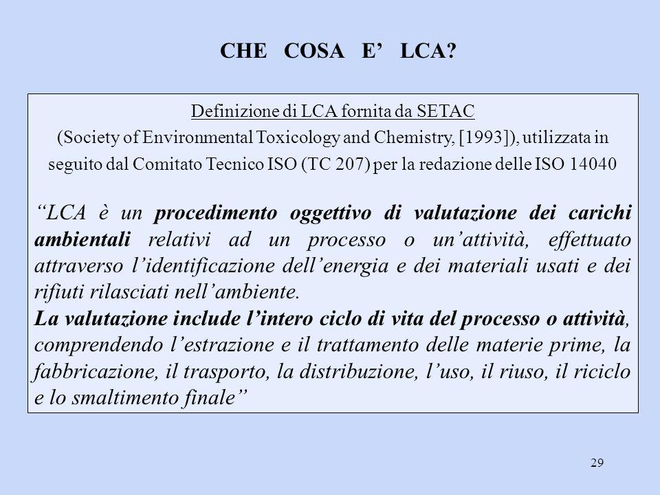 29 Definizione di LCA fornita da SETAC (Society of Environmental Toxicology and Chemistry, [1993]), utilizzata in seguito dal Comitato Tecnico ISO (TC