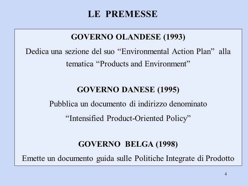 """4 GOVERNO OLANDESE (1993) Dedica una sezione del suo """"Environmental Action Plan"""" alla tematica """"Products and Environment"""" GOVERNO DANESE (1995) Pubbli"""