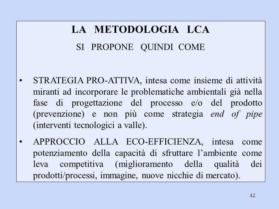 42 LA METODOLOGIA LCA SI PROPONE QUINDI COME STRATEGIA PRO-ATTIVA, intesa come insieme di attività miranti ad incorporare le problematiche ambientali