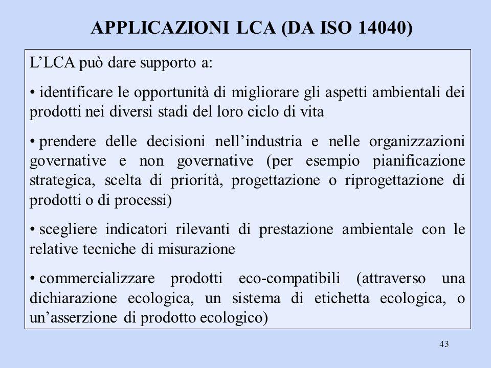43 L'LCA può dare supporto a: identificare le opportunità di migliorare gli aspetti ambientali dei prodotti nei diversi stadi del loro ciclo di vita p