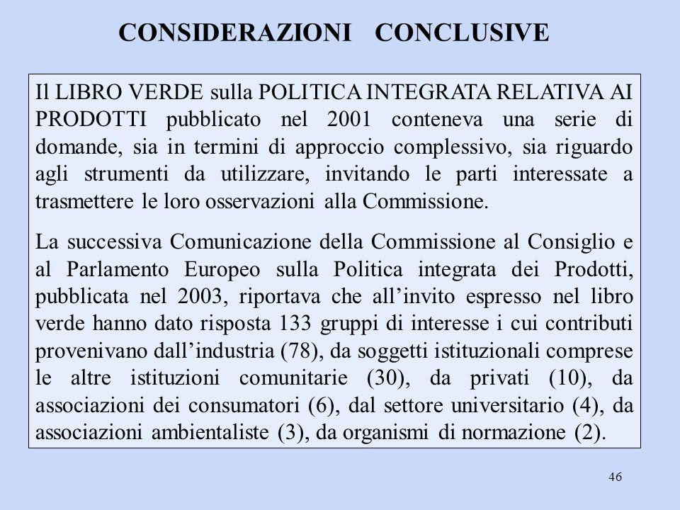 46 Il LIBRO VERDE sulla POLITICA INTEGRATA RELATIVA AI PRODOTTI pubblicato nel 2001 conteneva una serie di domande, sia in termini di approccio comple