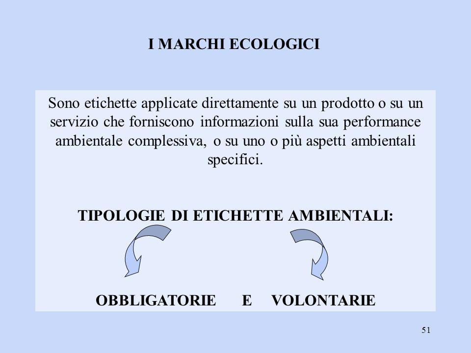 51 I MARCHI ECOLOGICI Sono etichette applicate direttamente su un prodotto o su un servizio che forniscono informazioni sulla sua performance ambienta
