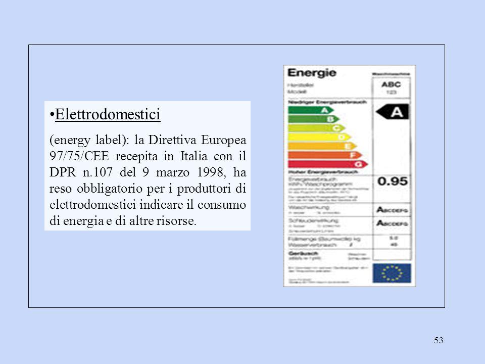 53 Elettrodomestici (energy label): la Direttiva Europea 97/75/CEE recepita in Italia con il DPR n.107 del 9 marzo 1998, ha reso obbligatorio per i pr