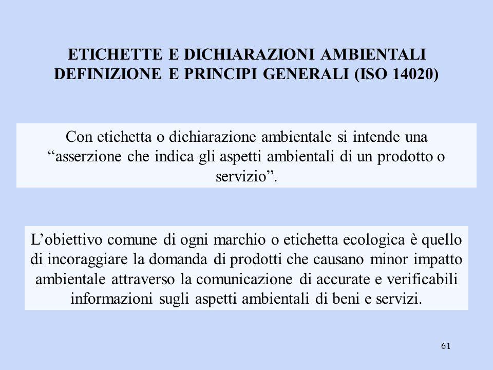 """61 Con etichetta o dichiarazione ambientale si intende una """"asserzione che indica gli aspetti ambientali di un prodotto o servizio"""". ETICHETTE E DICHI"""
