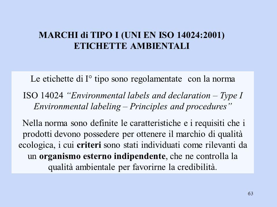 """63 Le etichette di I° tipo sono regolamentate con la norma ISO 14024 """"Environmental labels and declaration – Type I Environmental labeling – Principle"""