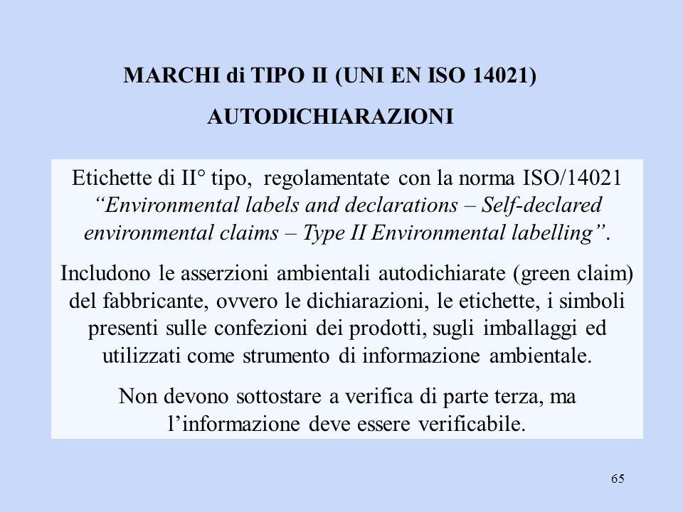"""65 Etichette di II° tipo, regolamentate con la norma ISO/14021 """"Environmental labels and declarations – Self-declared environmental claims – Type II E"""
