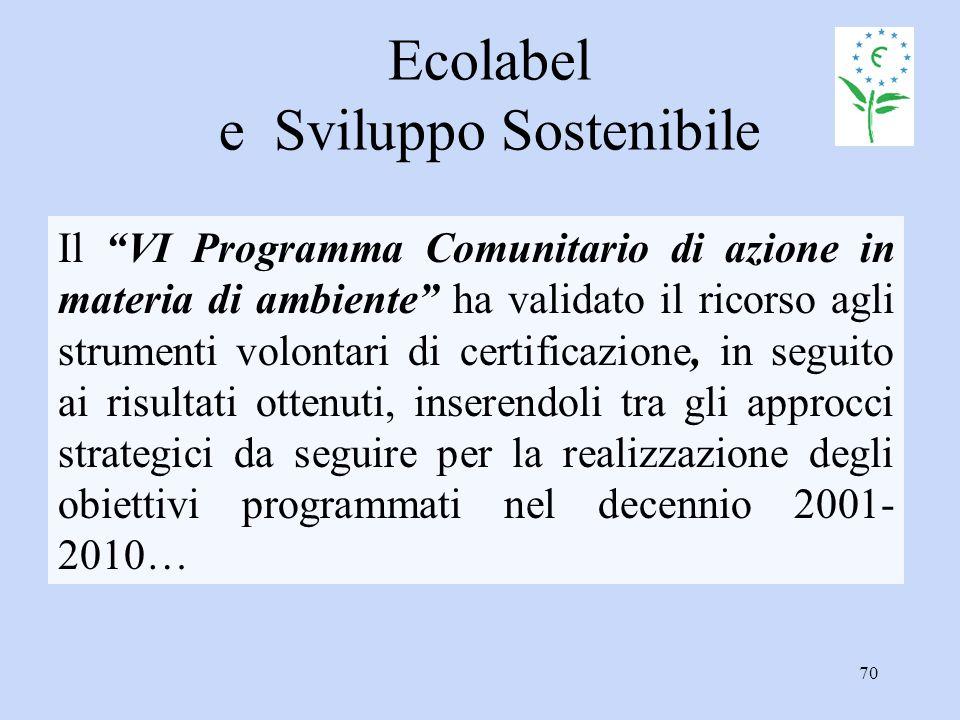 """70 Ecolabel e Sviluppo Sostenibile Il """"VI Programma Comunitario di azione in materia di ambiente"""" ha validato il ricorso agli strumenti volontari di c"""