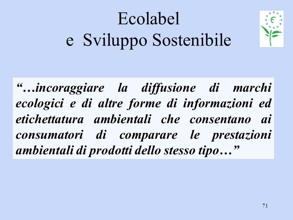 """71 Ecolabel e Sviluppo Sostenibile """"…incoraggiare la diffusione di marchi ecologici e di altre forme di informazioni ed etichettatura ambientali che c"""