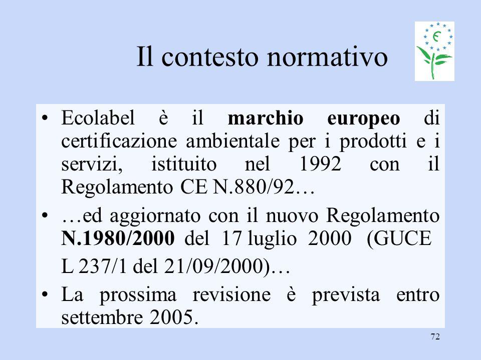 72 Il contesto normativo Ecolabel è il marchio europeo di certificazione ambientale per i prodotti e i servizi, istituito nel 1992 con il Regolamento
