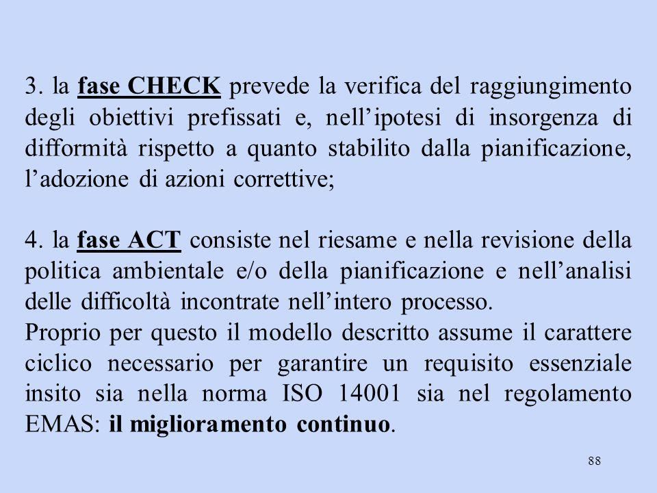 88 3. la fase CHECK prevede la verifica del raggiungimento degli obiettivi prefissati e, nell'ipotesi di insorgenza di difformità rispetto a quanto st