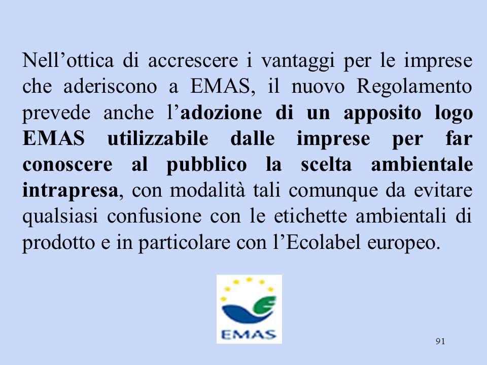 91 Nell'ottica di accrescere i vantaggi per le imprese che aderiscono a EMAS, il nuovo Regolamento prevede anche l'adozione di un apposito logo EMAS u