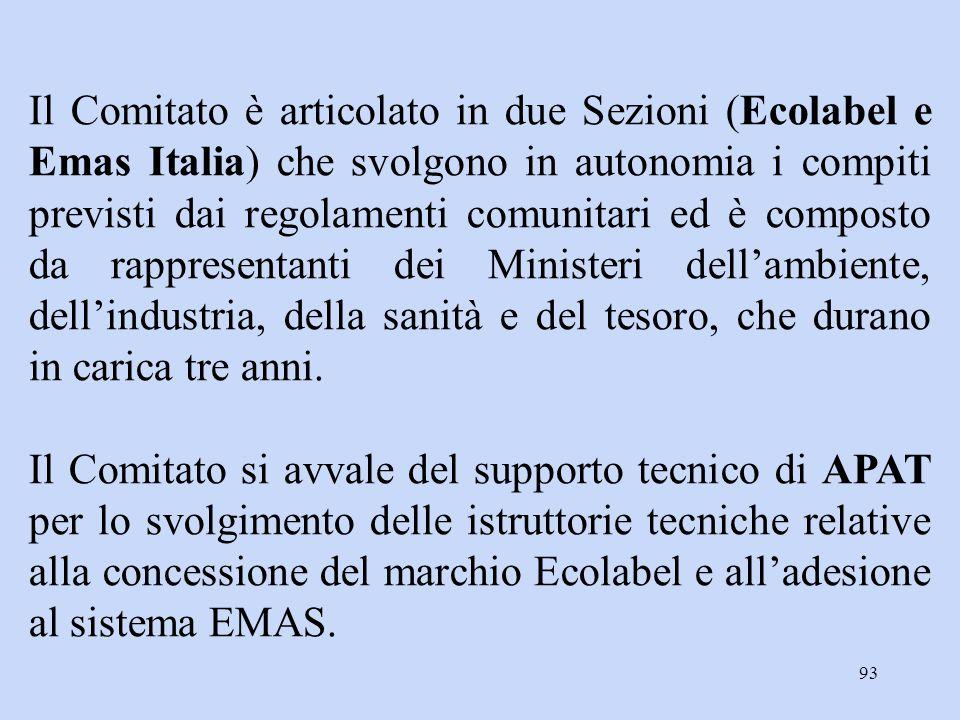 93 Il Comitato è articolato in due Sezioni (Ecolabel e Emas Italia) che svolgono in autonomia i compiti previsti dai regolamenti comunitari ed è compo
